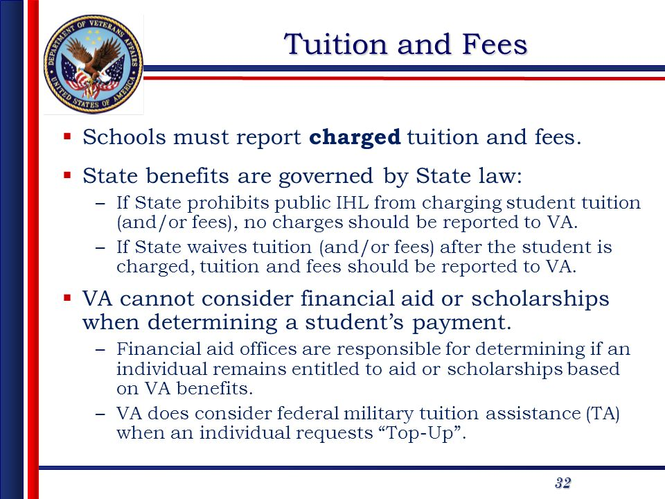 32 Tuition and Fees Schools must report charged tuition and fees.