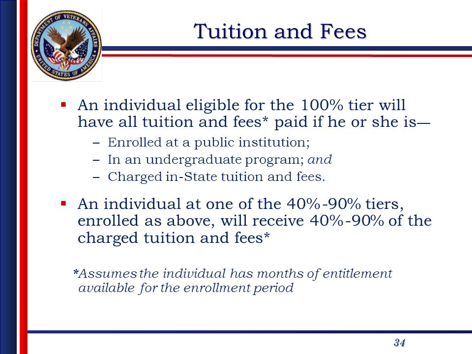 34 Tuition and Fees An individual eligible for the 100% tier will have all tuition and fees* paid if he or she is –Enrolled at a public institution; –In an undergraduate program; and –Charged in-State tuition and fees.