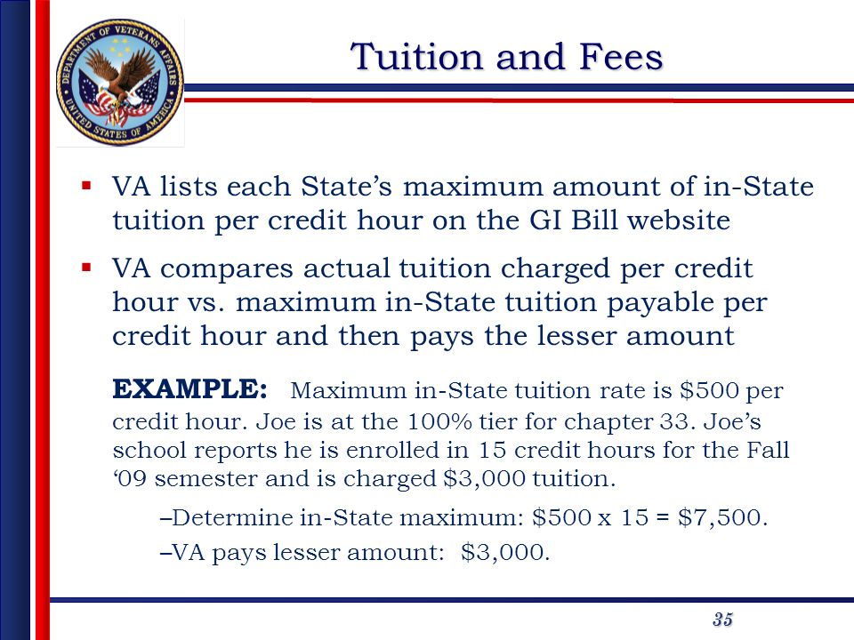 35 Tuition and Fees VA lists each States maximum amount of in-State tuition per credit hour on the GI Bill website VA compares actual tuition charged per credit hour vs.