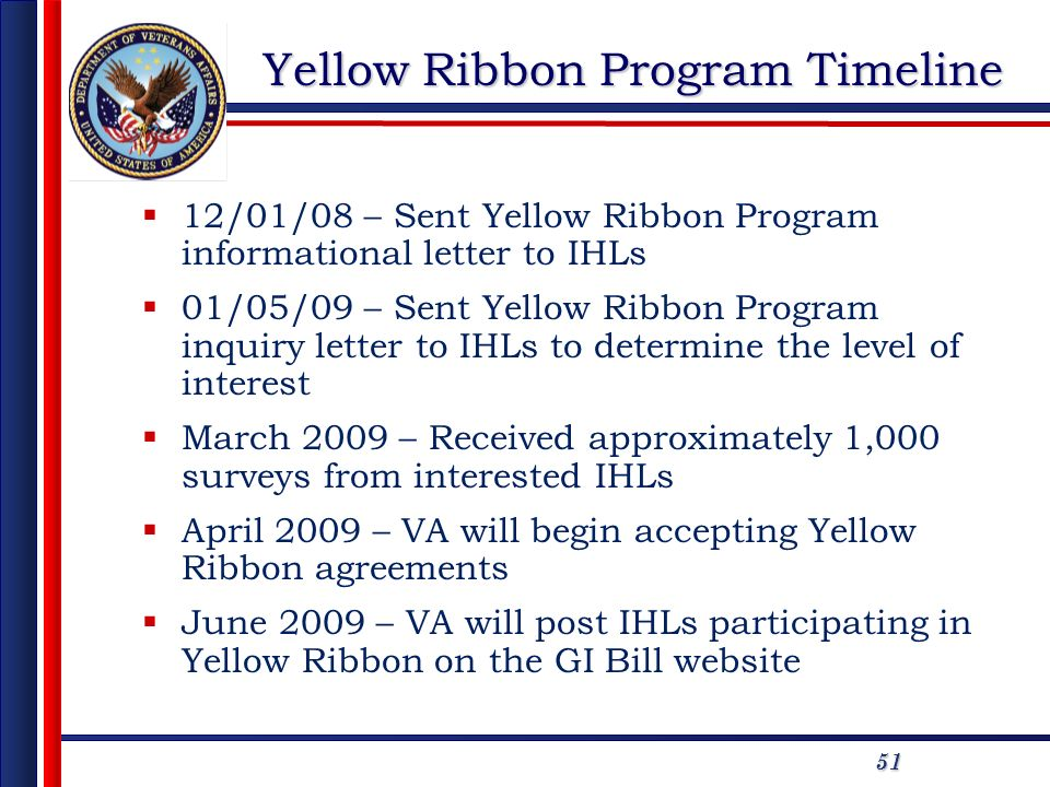 51 12/01/08 – Sent Yellow Ribbon Program informational letter to IHLs 01/05/09 – Sent Yellow Ribbon Program inquiry letter to IHLs to determine the level of interest March 2009 – Received approximately 1,000 surveys from interested IHLs April 2009 – VA will begin accepting Yellow Ribbon agreements June 2009 – VA will post IHLs participating in Yellow Ribbon on the GI Bill website Yellow Ribbon Program Timeline