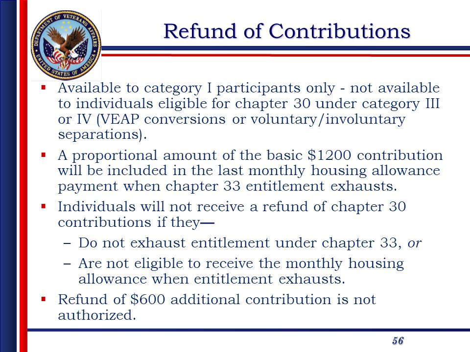 5656 Refund of Contributions Available to category I participants only - not available to individuals eligible for chapter 30 under category III or IV