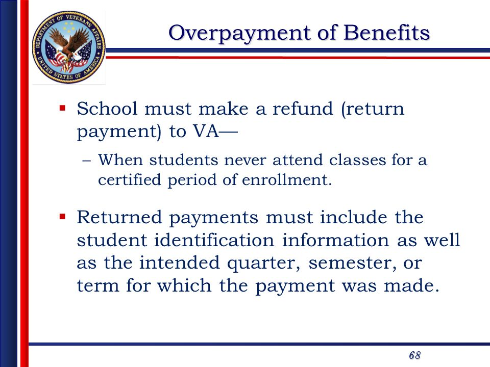 68 Overpayment of Benefits School must make a refund (return payment) to VA –When students never attend classes for a certified period of enrollment.