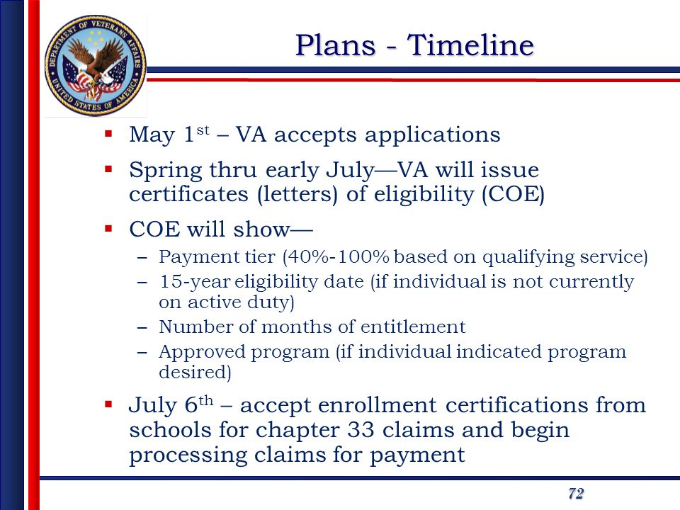 72 Plans - Timeline May 1 st – VA accepts applications Spring thru early JulyVA will issue certificates (letters) of eligibility (COE) COE will show –Payment tier (40%-100% based on qualifying service) –15-year eligibility date (if individual is not currently on active duty) –Number of months of entitlement –Approved program (if individual indicated program desired) July 6 th – accept enrollment certifications from schools for chapter 33 claims and begin processing claims for payment