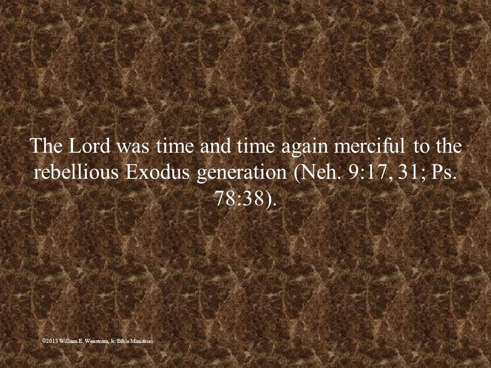 2013 William E. Wenstrom, Jr. Bible Ministries The Lord was time and time again merciful to the rebellious Exodus generation (Neh. 9:17, 31; Ps. 78:38
