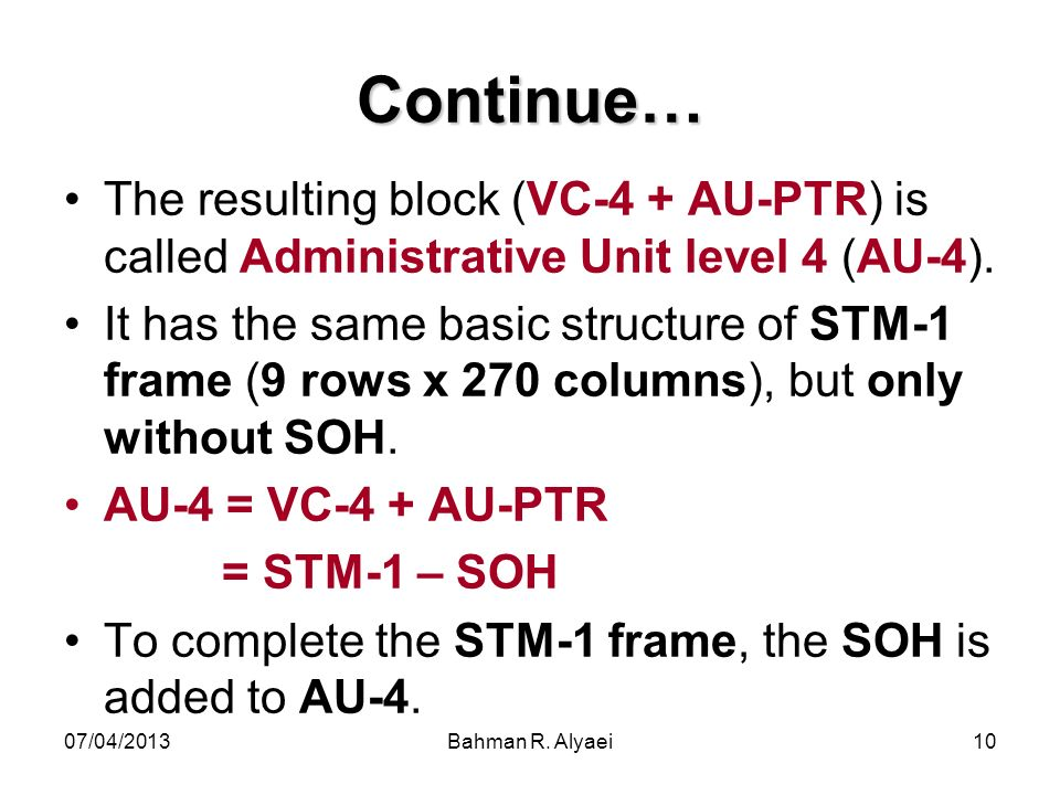 07/04/2013Bahman R. Alyaei10 Continue… The resulting block (VC-4 + AU-PTR) is called Administrative Unit level 4 (AU-4). It has the same basic structu