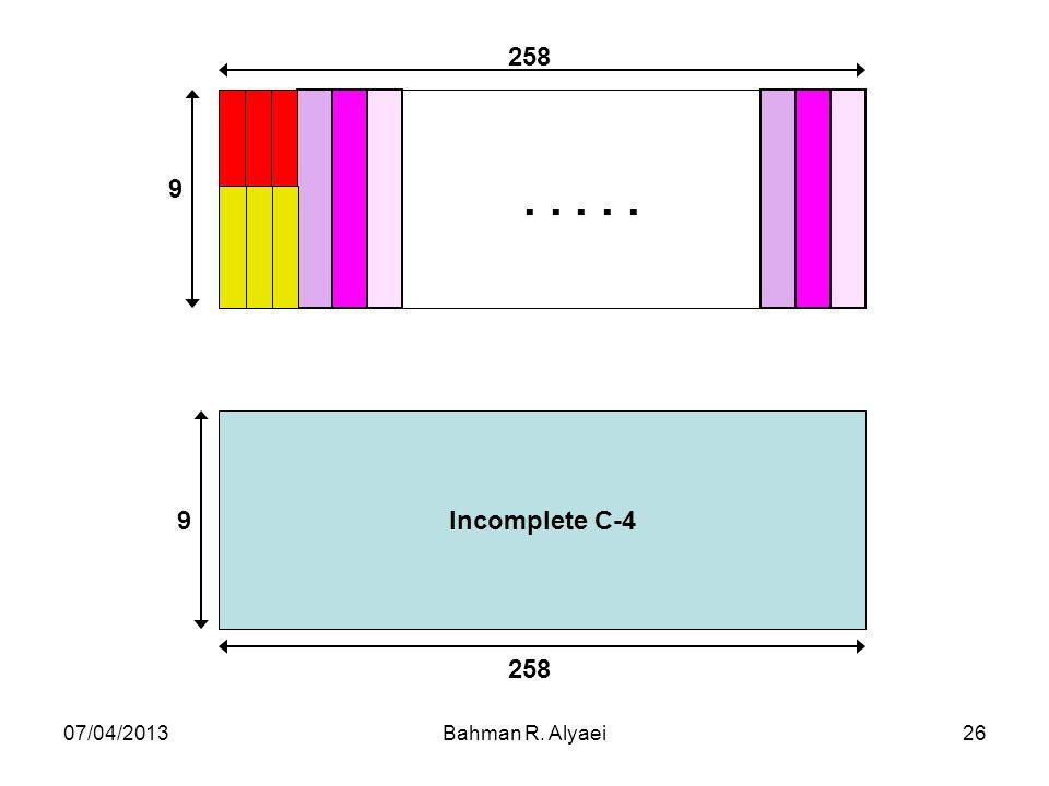 07/04/2013Bahman R. Alyaei26..... 9 258 Incomplete C-4 9 258