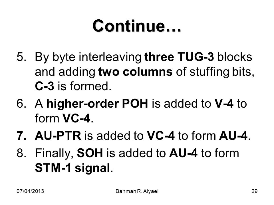 07/04/2013Bahman R. Alyaei29 Continue… 5.By byte interleaving three TUG-3 blocks and adding two columns of stuffing bits, C-3 is formed. 6.A higher-or