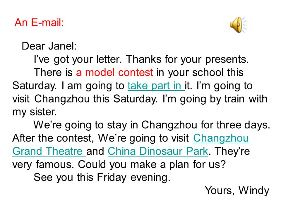 Dear Janel: Ive got your letter. Thanks for your presents. There is a model contest in your school this Saturday. I am going to take part in it. Im go