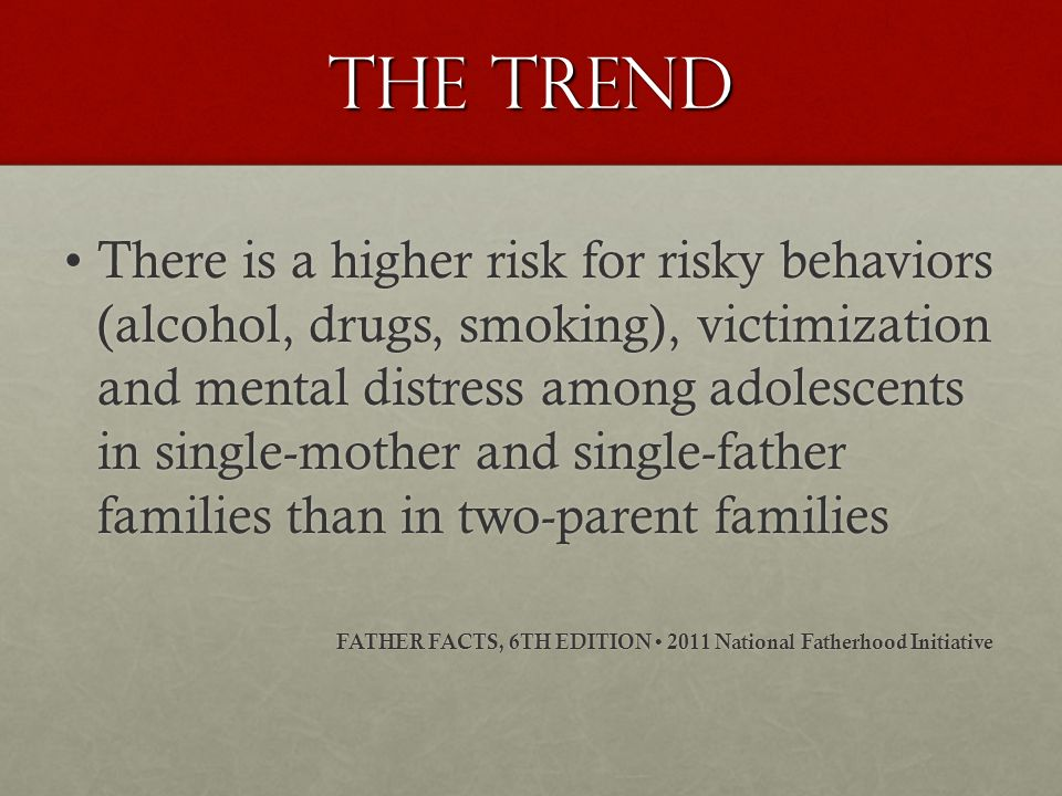 The trend There is a higher risk for risky behaviors (alcohol, drugs, smoking), victimization and mental distress among adolescents in single-mother and single-father families than in two-parent familiesThere is a higher risk for risky behaviors (alcohol, drugs, smoking), victimization and mental distress among adolescents in single-mother and single-father families than in two-parent families FATHER FACTS, 6TH EDITION 2011 National Fatherhood Initiative FATHER FACTS, 6TH EDITION 2011 National Fatherhood Initiative