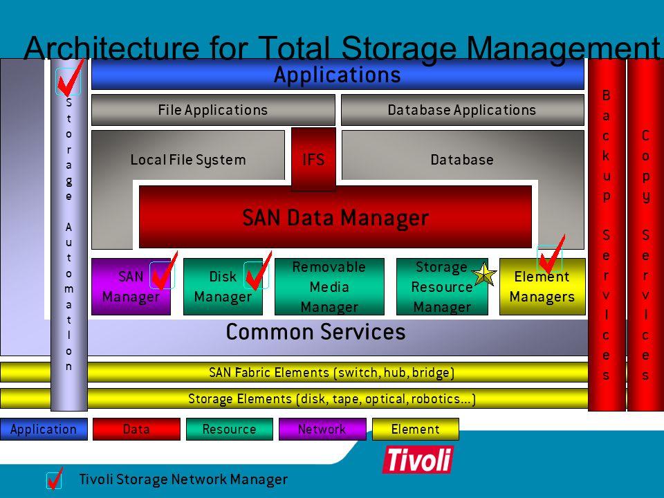 Storage Elements (disk, tape, optical, robotics...) Common Services SAN Fabric Elements (switch, hub, bridge) CopyServIcesCopyServIces SAN Manager Ele