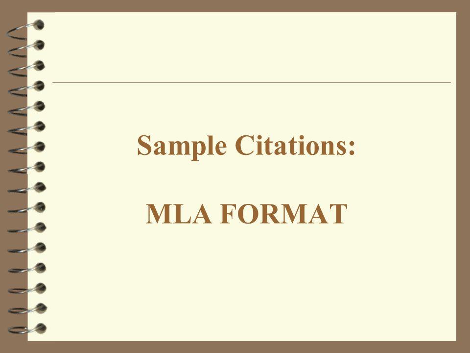 Sample Citations: MLA FORMAT