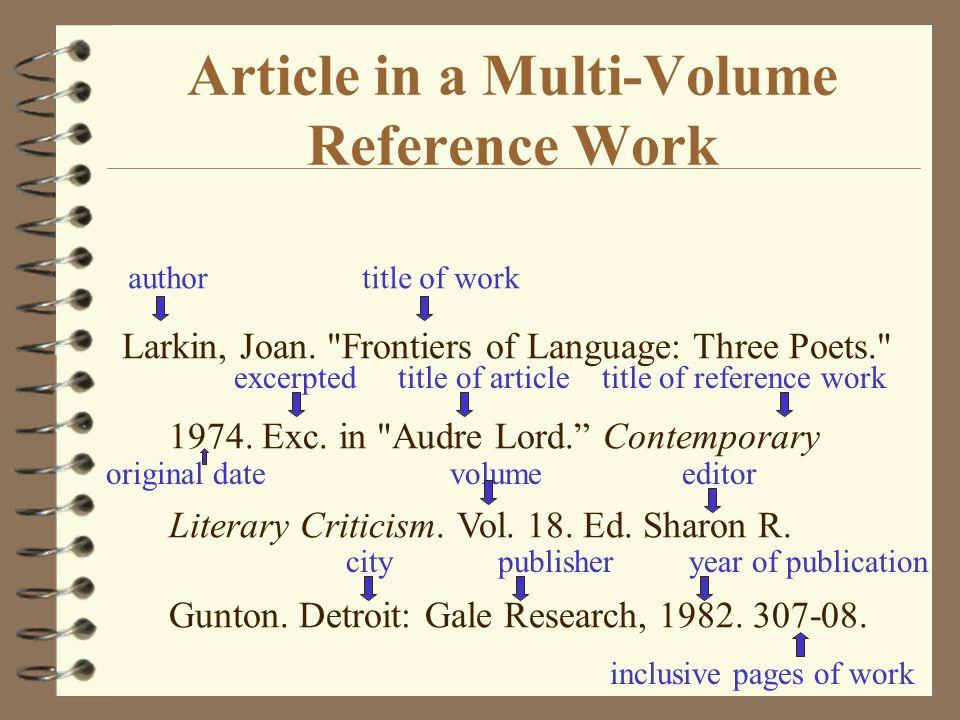 Article in a Multi-Volume Reference Work Larkin, Joan.