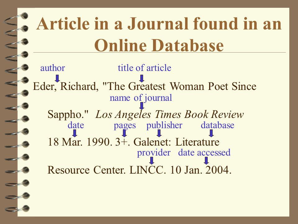 Article in a Journal found in an Online Database author title of article name of journal Eder, Richard,
