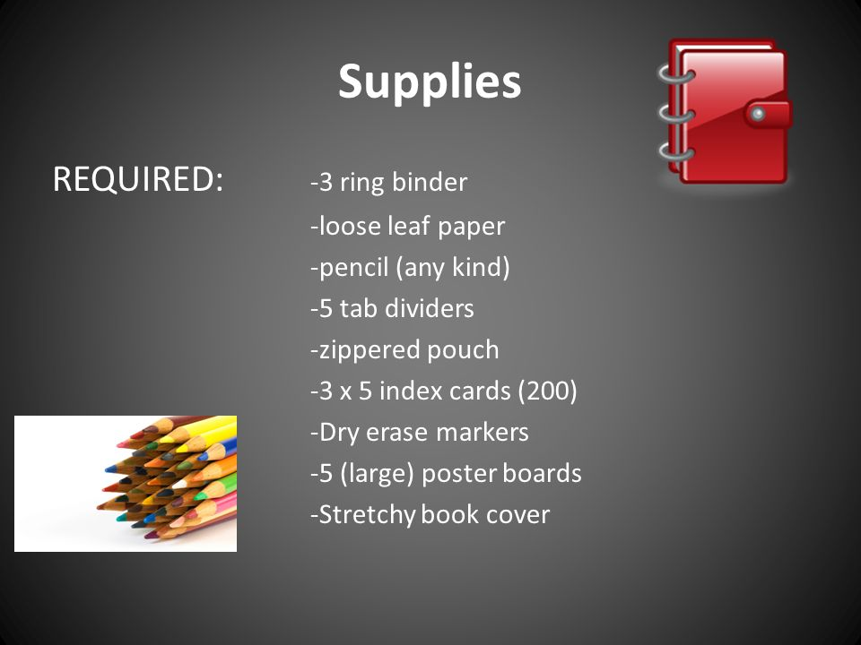 Supplies REQUIRED: -3 ring binder -loose leaf paper -pencil (any kind) -5 tab dividers -zippered pouch -3 x 5 index cards (200) -Dry erase markers -5 (large) poster boards -Stretchy book cover