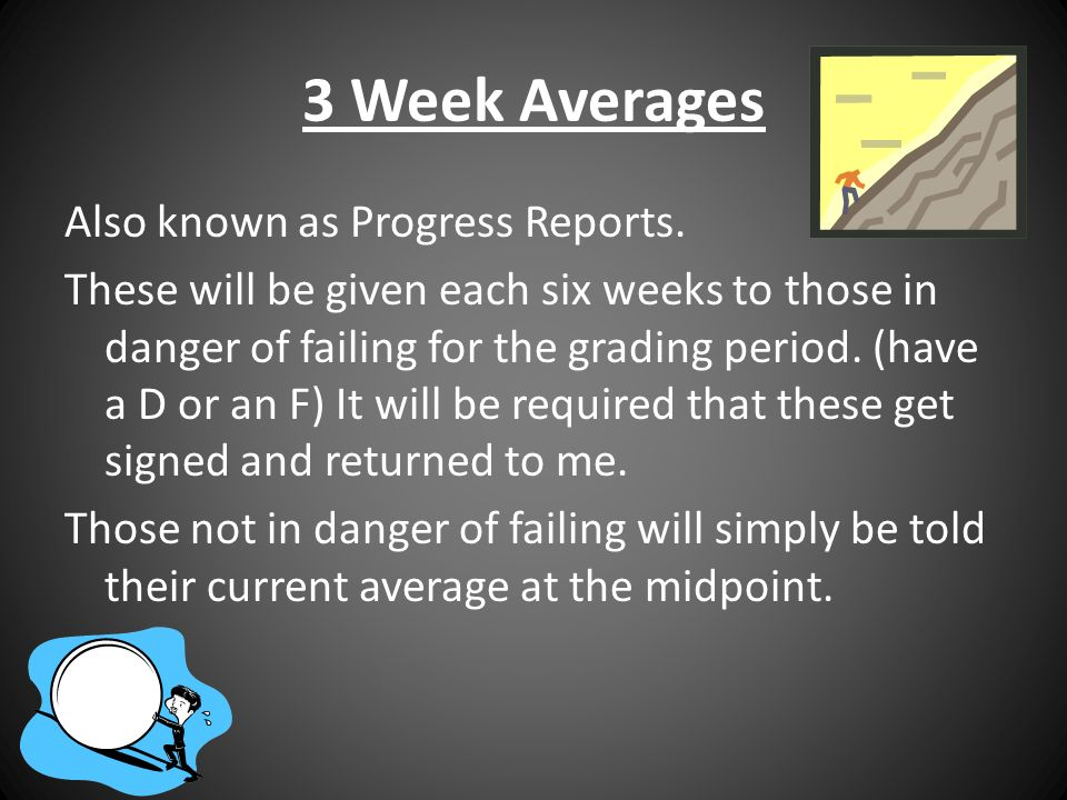 3 Week Averages Also known as Progress Reports.