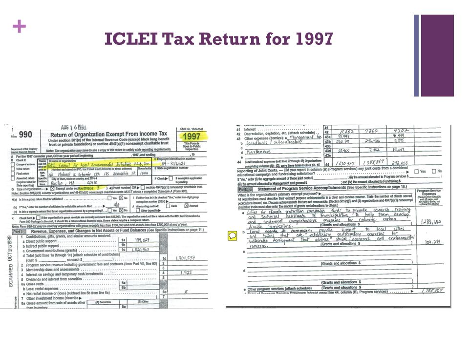 + ICLEI Tax Return for 1997