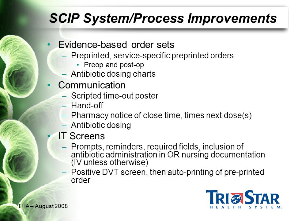 THA – August 2008 SCIP System/Process Improvements Evidence-based order sets –Preprinted, service-specific preprinted orders Preop and post-op –Antibi