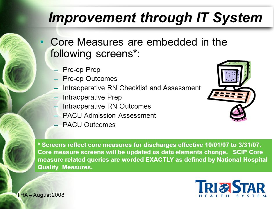 THA – August 2008 Improvement through IT System Core Measures are embedded in the following screens*: –Pre-op Prep –Pre-op Outcomes –Intraoperative RN