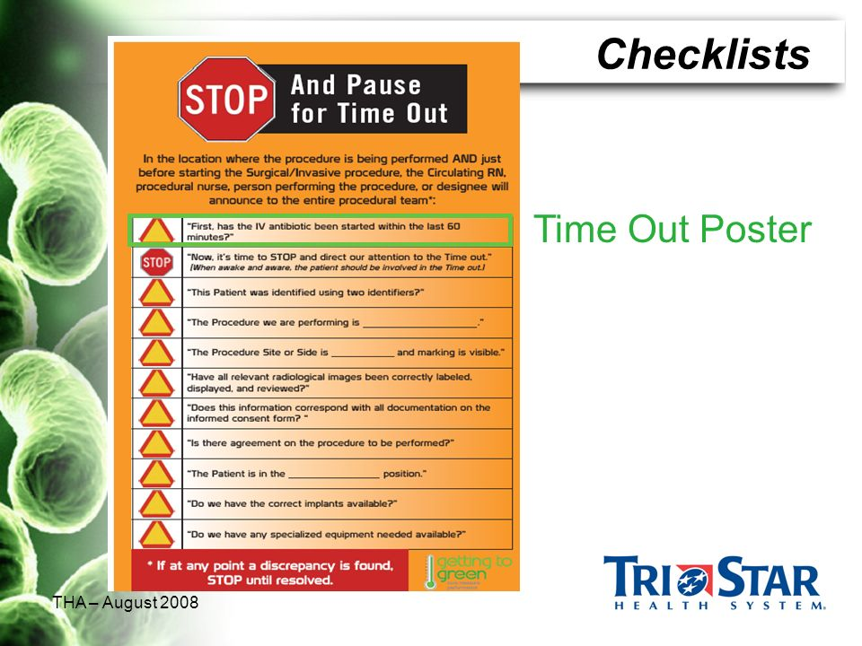 THA – August 2008 Time Out Poster 42 Checklists