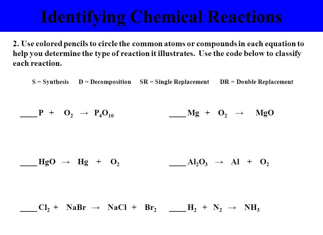 Identifying Chemical Reactions ____ P + O 2 P 4 O 10 ____ Mg + O 2 MgO ____ HgO Hg + O 2 ____ Al 2 O 3 Al + O 2 ____ Cl 2 + NaBr NaCl + Br 2 ____ H 2