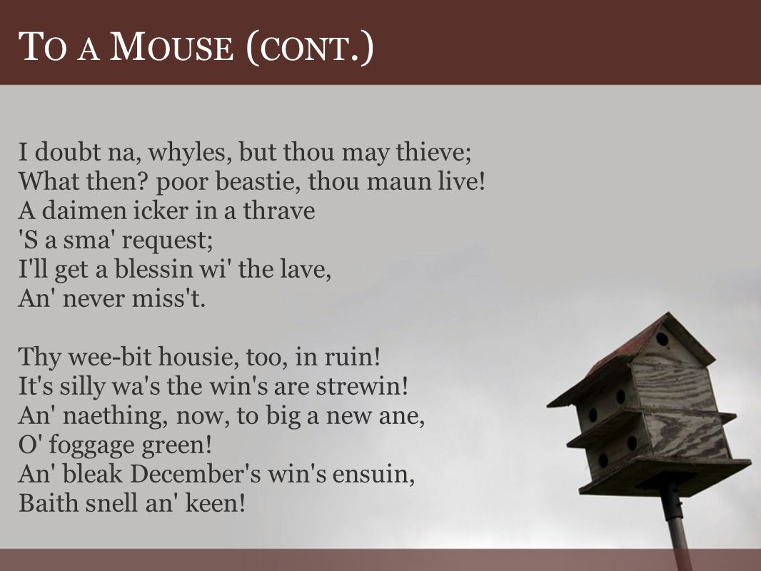 T O A M OUSE ( CONT.) I doubt na, whyles, but thou may thieve; What then.