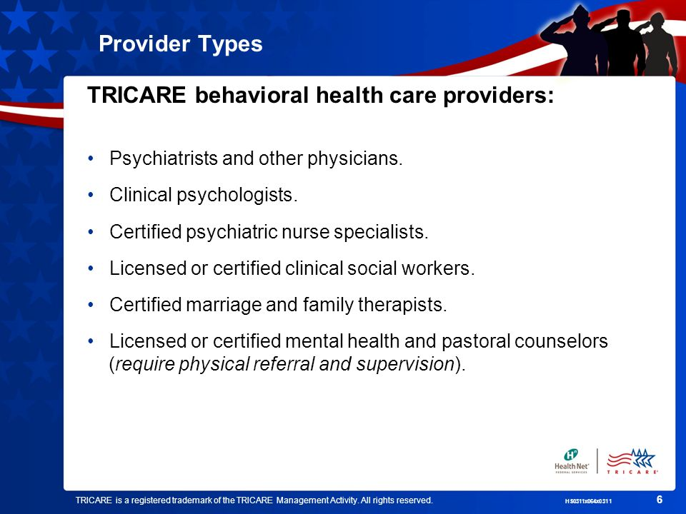 TRICARE is a registered trademark of the TRICARE Management Activity.