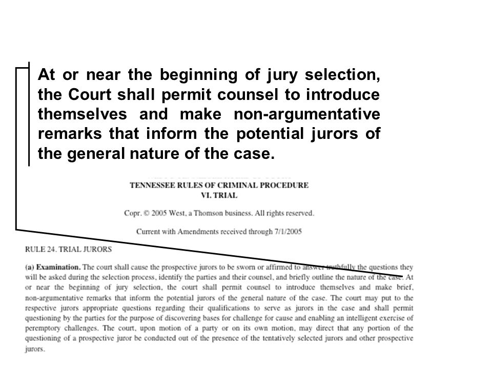 At or near the beginning of jury selection, the Court shall permit counsel to introduce themselves and make non-argumentative remarks that inform the potential jurors of the general nature of the case.
