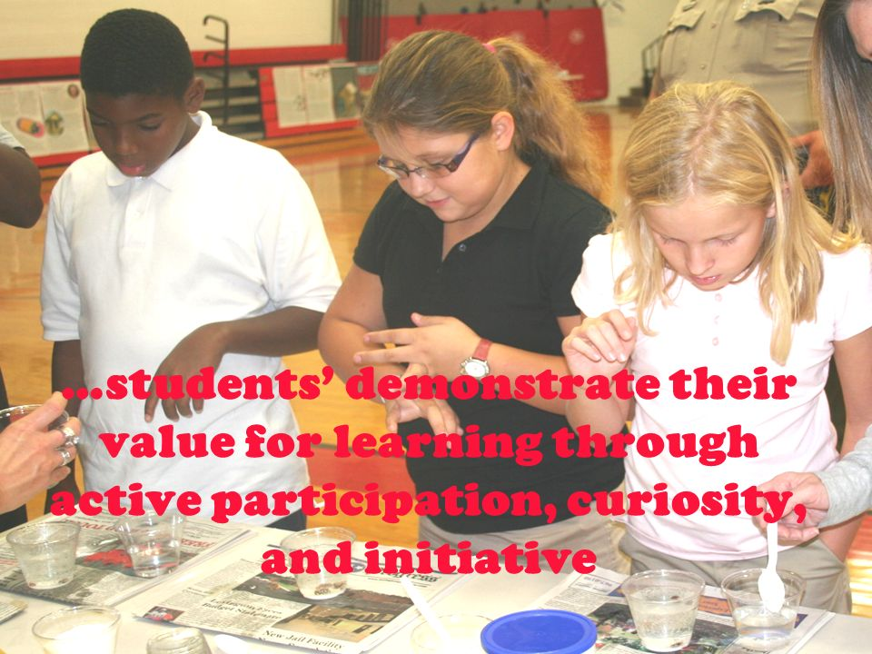 …students demonstrate their value for learning through active participation, curiosity, and initiative