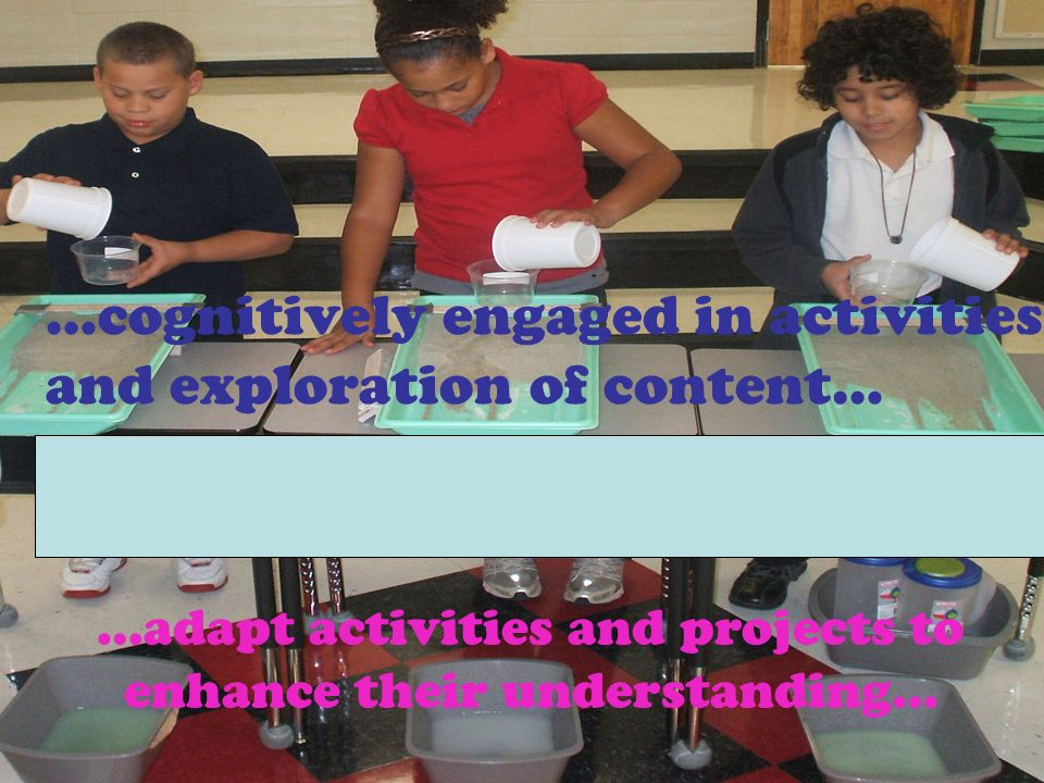 …adapt activities and projects to enhance their understanding… …cognitively engaged in activities and exploration of content…