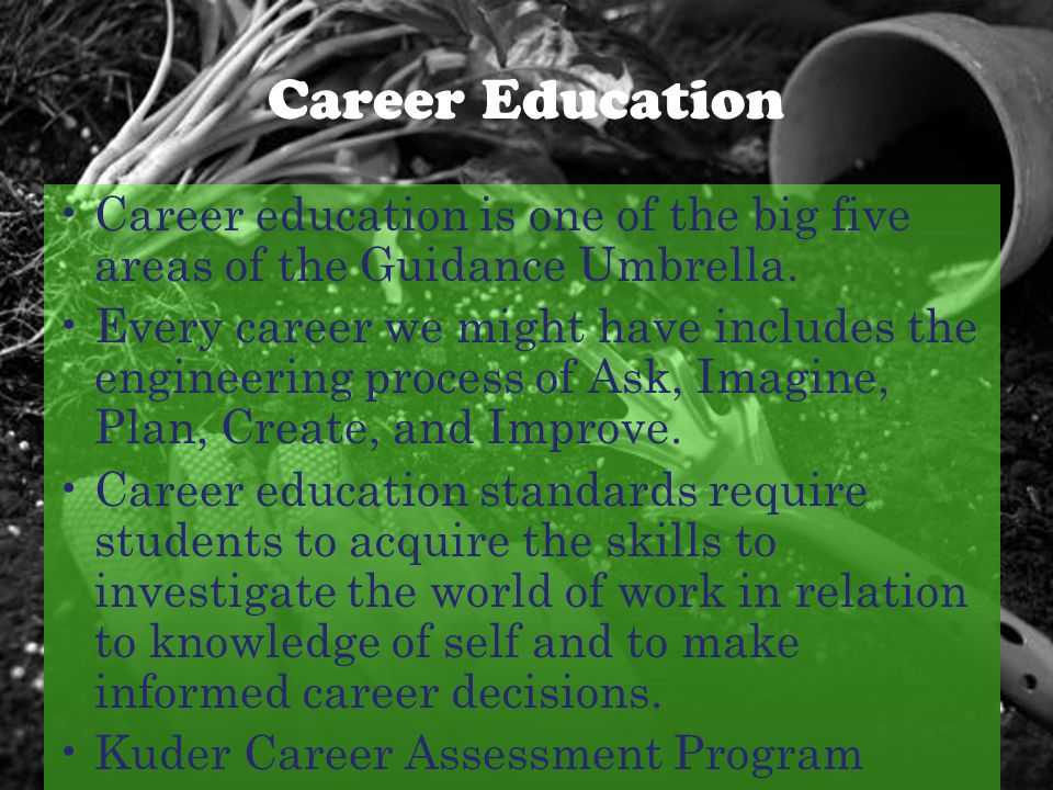 Career Education Career education is one of the big five areas of the Guidance Umbrella.