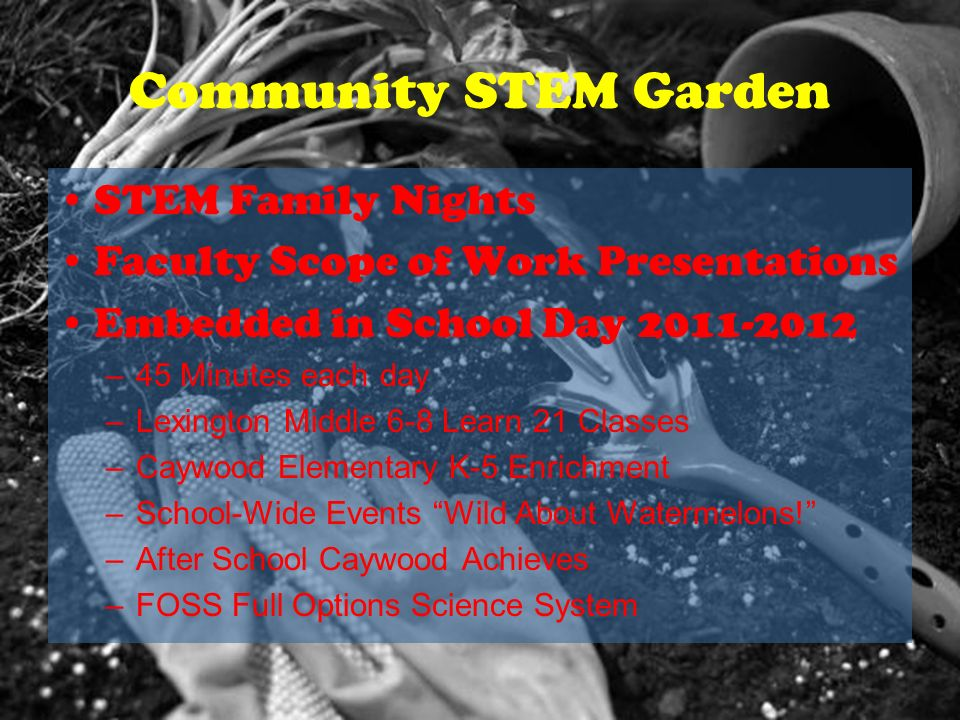 Community STEM Garden STEM Family Nights Faculty Scope of Work Presentations Embedded in School Day 2011-2012 –45 Minutes each day –Lexington Middle 6-8 Learn 21 Classes –Caywood Elementary K-5 Enrichment –School-Wide Events Wild About Watermelons.