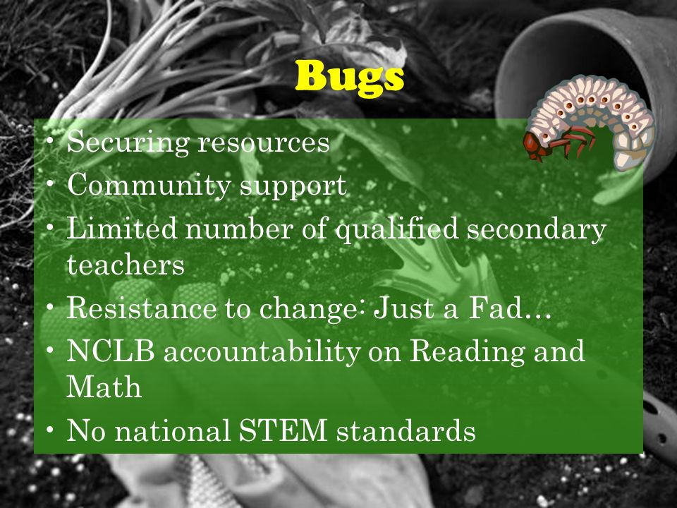 Bugs Securing resources Community support Limited number of qualified secondary teachers Resistance to change: Just a Fad… NCLB accountability on Reading and Math No national STEM standards Bugs