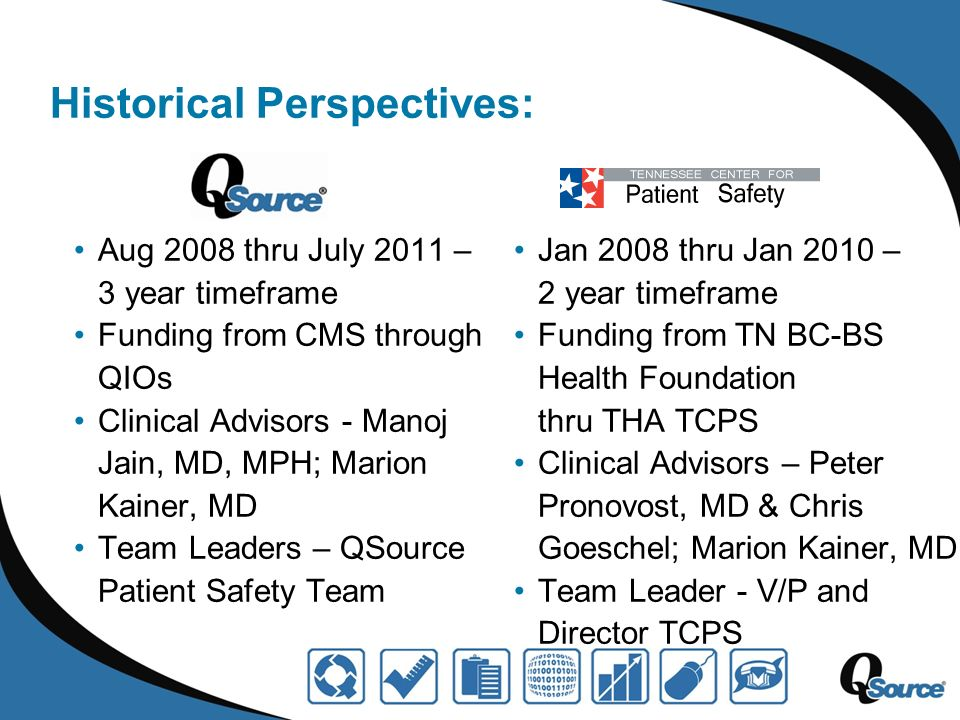 Historical Perspectives: Aug 2008 thru July 2011 – 3 year timeframe Funding from CMS through QIOs Clinical Advisors - Manoj Jain, MD, MPH; Marion Kainer, MD Team Leaders – QSource Patient Safety Team Jan 2008 thru Jan 2010 – 2 year timeframe Funding from TN BC-BS Health Foundation thru THA TCPS Clinical Advisors – Peter Pronovost, MD & Chris Goeschel; Marion Kainer, MD Team Leader - V/P and Director TCPS