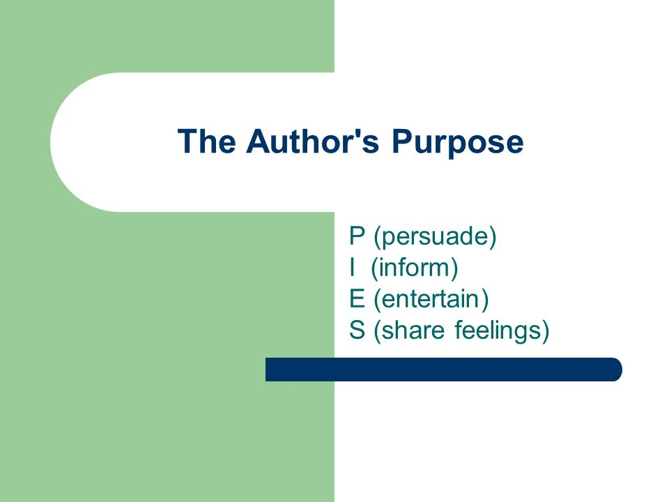 Watch this United Streaming Video. The Author s PurposeThe Author s Purpose (04:24)