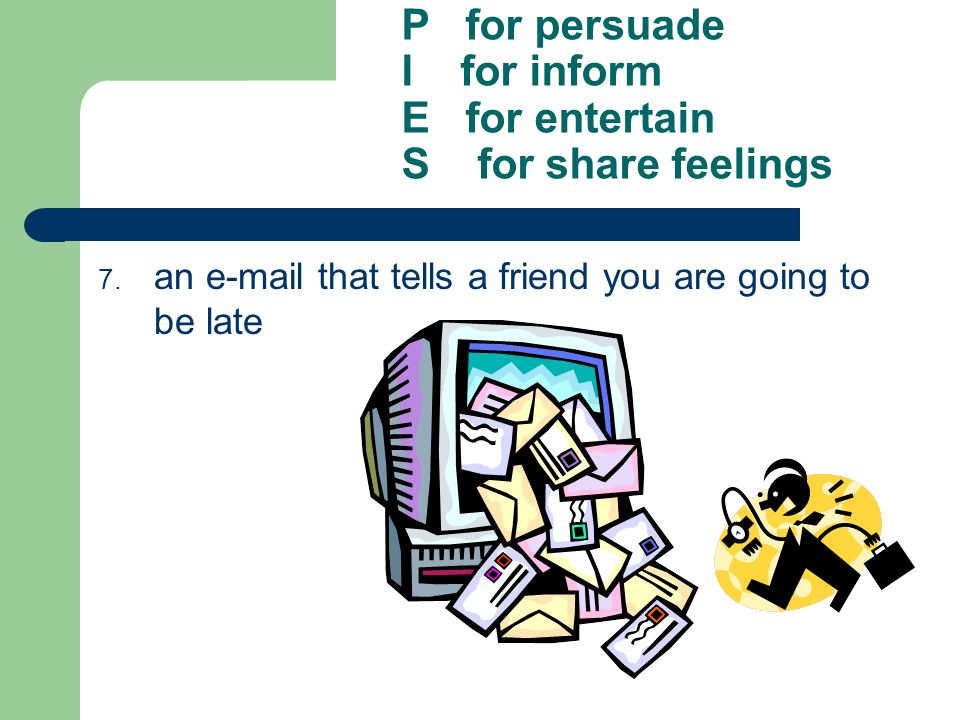 P for persuade I for inform E for entertain S for share feelings 7. an e-mail that tells a friend you are going to be late