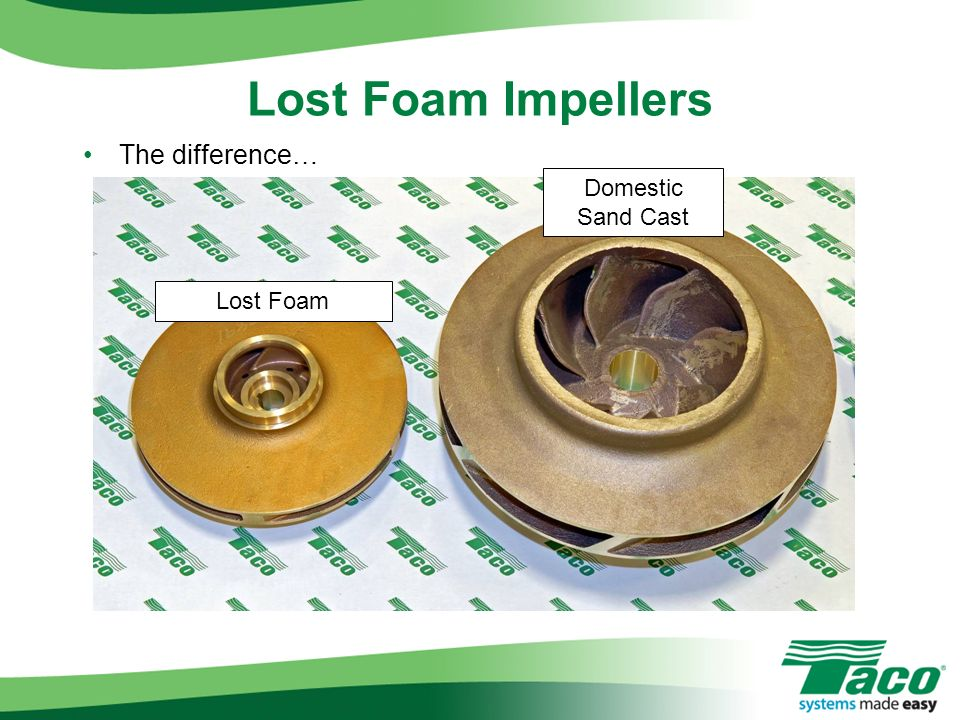 The difference… Lost Foam Impellers Lost Foam Domestic Sand Cast