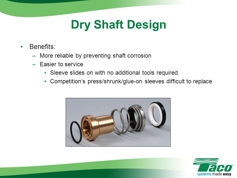Benefits: –More reliable by preventing shaft corrosion –Easier to service Sleeve slides on with no additional tools required. Competitions press/shrun