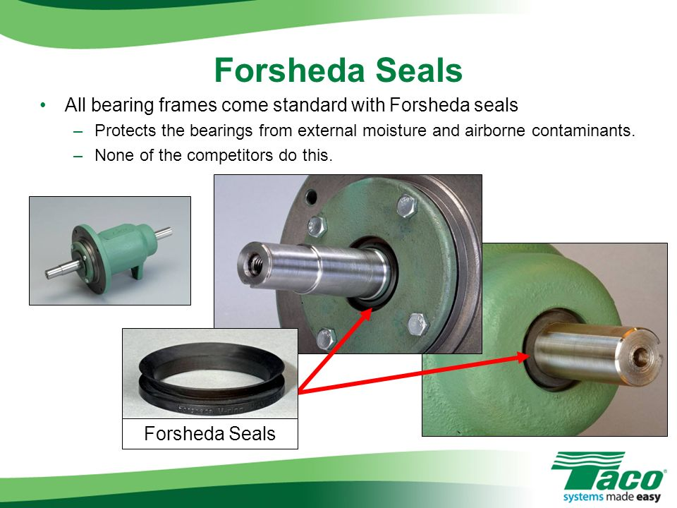 All bearing frames come standard with Forsheda seals –Protects the bearings from external moisture and airborne contaminants. –None of the competitors