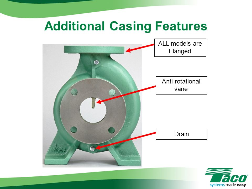 Additional Casing Features ALL models are Flanged Anti-rotational vane Drain
