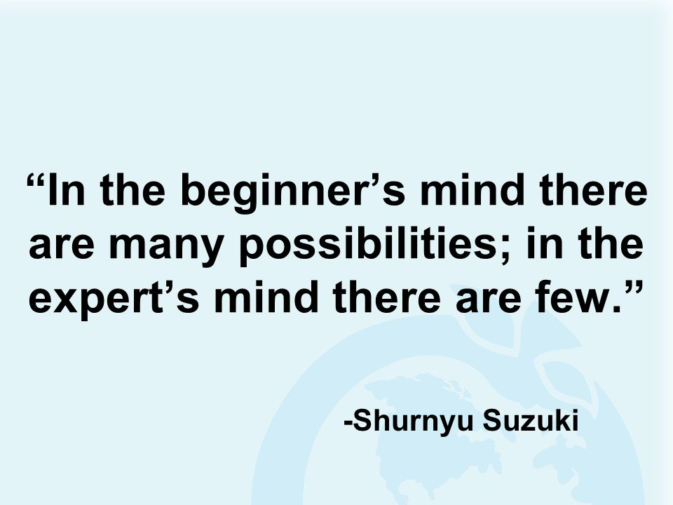 In the beginners mind there are many possibilities; in the experts mind there are few. -Shurnyu Suzuki