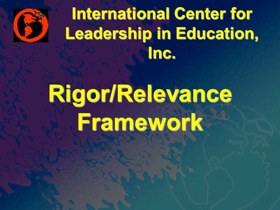 International Center for Leadership in Education, Inc. Rigor/Relevance Framework