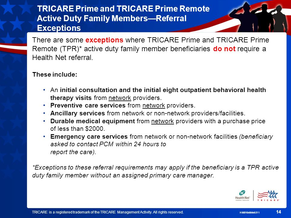 TRICARE is a registered trademark of the TRICARE Management Activity. All rights reserved. HS0910x004x0211 14 TRICARE Prime and TRICARE Prime Remote A