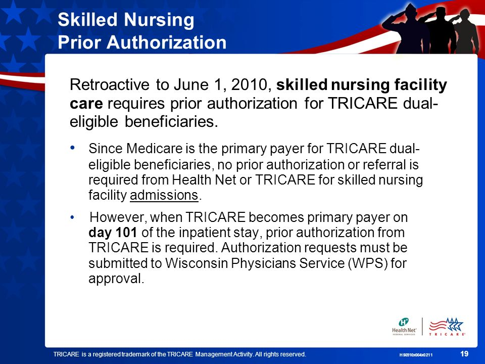 TRICARE is a registered trademark of the TRICARE Management Activity. All rights reserved. HS0910x004x0211 19 Skilled Nursing Prior Authorization Retr