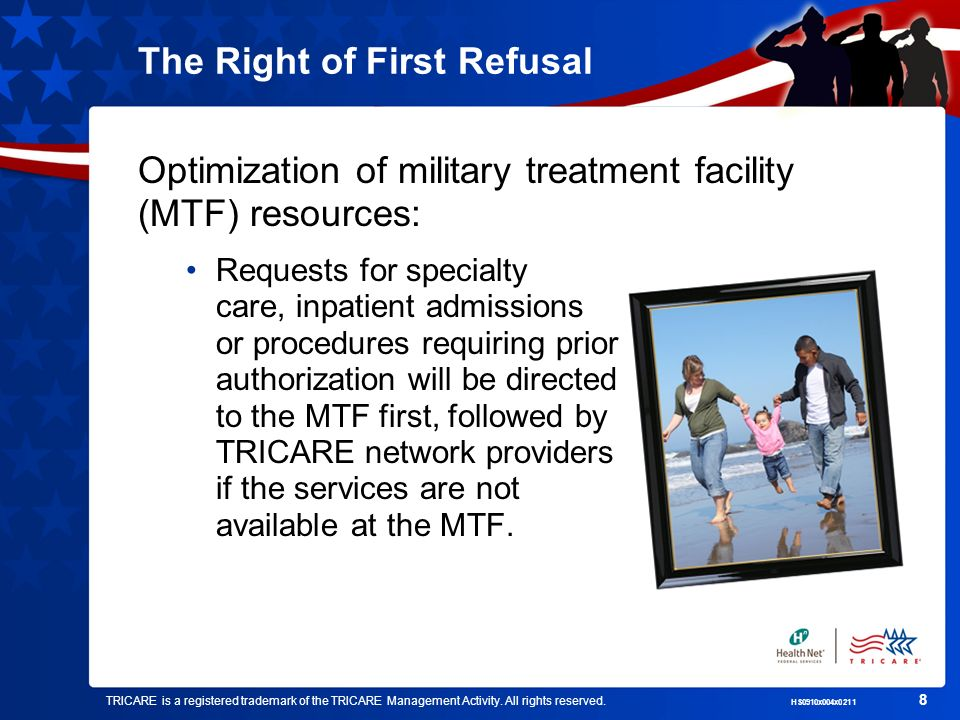 TRICARE is a registered trademark of the TRICARE Management Activity. All rights reserved. HS0910x004x0211 8 The Right of First Refusal Optimization o