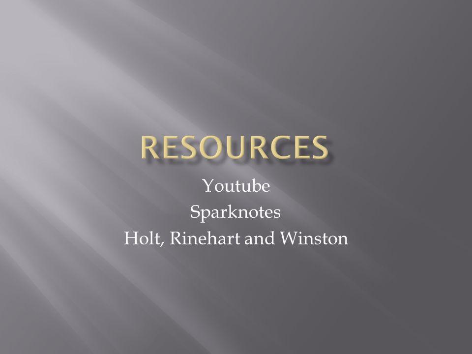 Youtube Sparknotes Holt, Rinehart and Winston