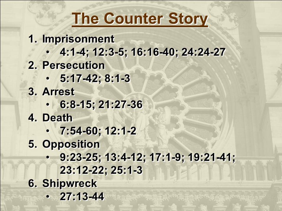 1.Imprisonment 4:1-4; 12:3-5; 16:16-40; 24:24-27 2.Persecution 5:17-42; 8:1-3 3.Arrest 6:8-15; 21:27-36 4.Death 7:54-60; 12:1-2 5.Opposition 9:23-25;