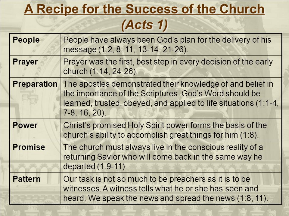 A Recipe for the Success of the Church (Acts 1) A Recipe for the Success of the Church (Acts 1) PeoplePeople have always been Gods plan for the delivery of his message (1:2, 8, 11, 13-14, 21-26).