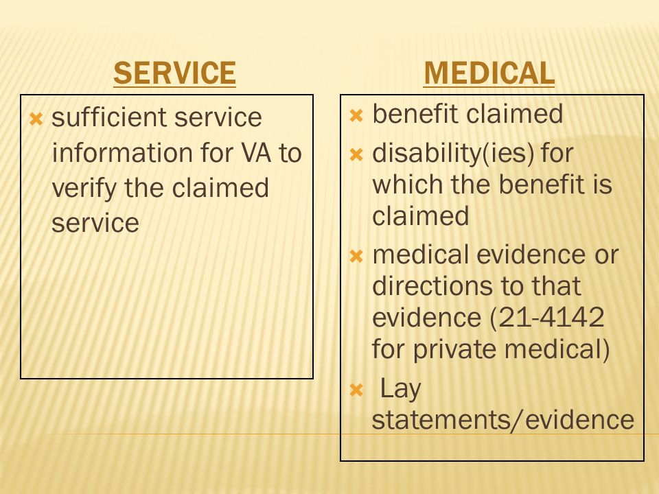 SERVICEMEDICAL sufficient service information for VA to verify the claimed service benefit claimed disability(ies) for which the benefit is claimed medical evidence or directions to that evidence ( for private medical) Lay statements/evidence