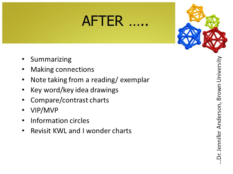 AFTER….. Summarizing Making connections Note taking from a reading/ exemplar Key word/key idea drawings Compare/contrast charts VIP/MVP Information ci