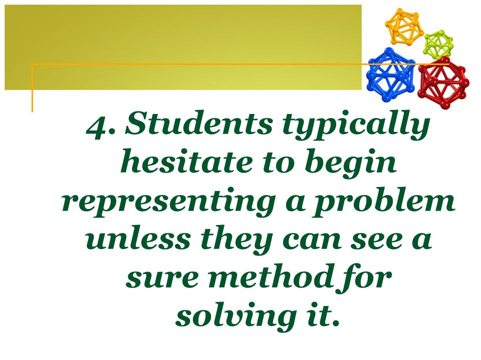 4. Students typically hesitate to begin representing a problem unless they can see a sure method for solving it.
